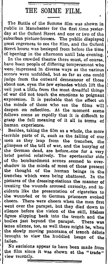 Battle of the Somme film – archive | World news | The Guardian