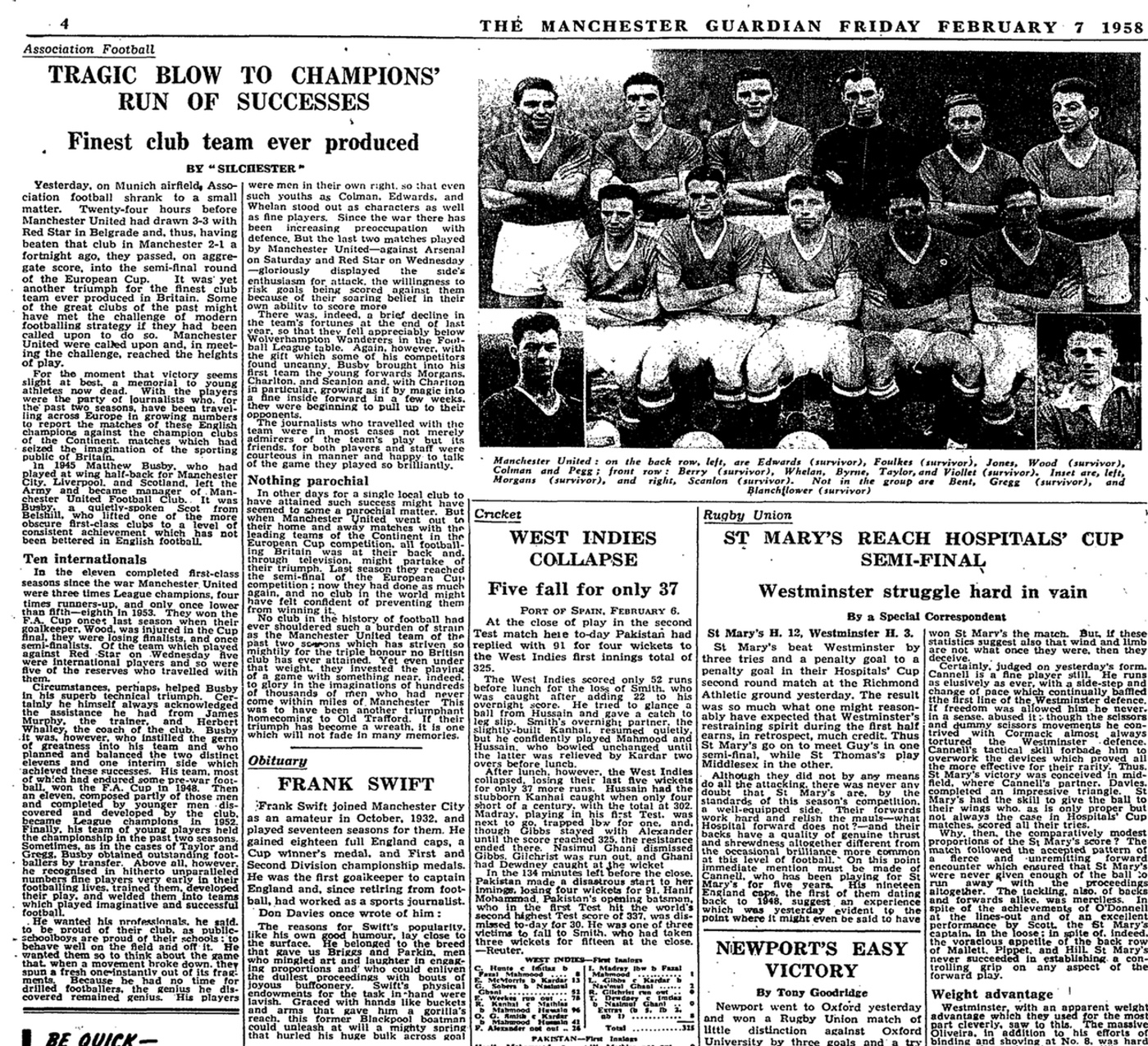 How the Manchester Guardian reported the Munich air disaster in 1958 | Football | The Guardian