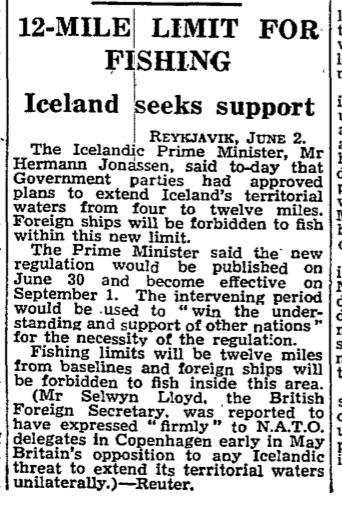 Map Of Uk 12 Mile Limit.Iceland V Britain The Cod Wars Begin Archive September 1958